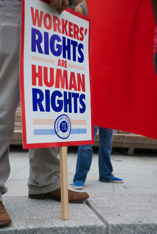 Photos of workers rights are human rights banner