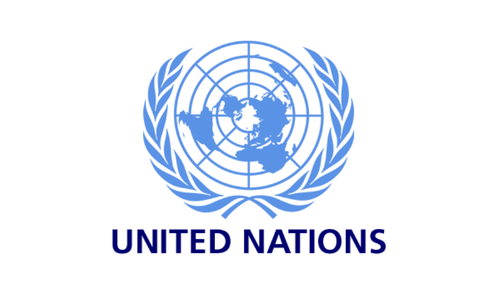 light blue United Nations logo with text underneath